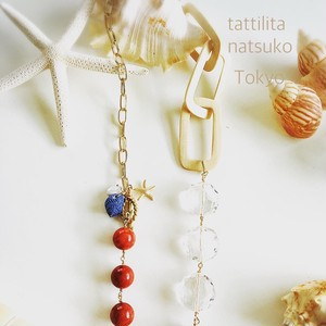 赤珊瑚とウッドパーツの☆ネックレス