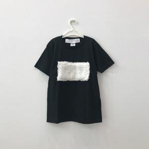 【キッズSサイズ】ビッグシルエットTシャツ(もこもこ)Black×フェイクファー
