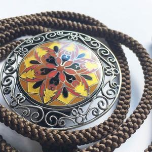十二稜鏡 ループタイ 純銀メタル七宝 シルバー金具・シルク紐使用