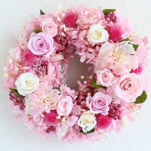 プリザーブドフラワー リース S マカロンピンクのバラとアジサイのストロベリーシフォン リース 直径20cm