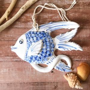 マヨリカ焼き 魚大 ライトブルー
