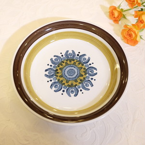 "70's Vintag Signed ""BURLEIGH IRONSTONE, CASTILE"" made in England Soup Plate    [CPV-20]"