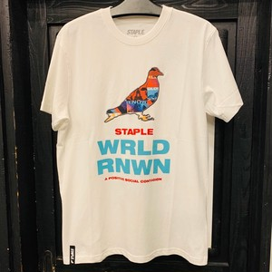 STAPLE : WORLD COLLAGE PIGEON S/S TEE /  WHITE