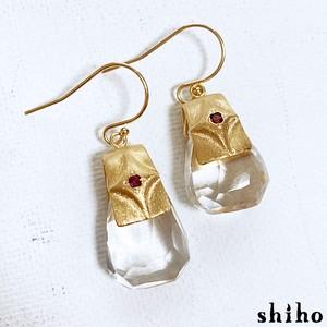 スモーキークオーツ×ロードライトガーネットのピアス【dress up pierce(gd)<Smoky quartz/Rhodolite Garnet>】