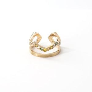 Twin Green Diamonds Ring