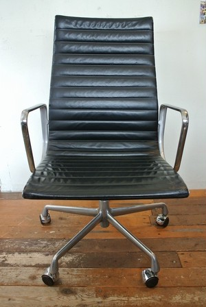 Herman Miller Executive Alminum Chair by Eames, Leather