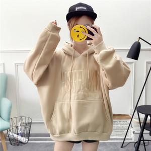 【トップス】秋冬ファッションフード付きランタンスリーブ長袖パーカー