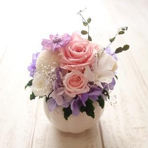 お悔やみアレンジ[ピンク&パープル] お供え花 ペット供 お花 贈り物 プリザーブドアレンジ アレンジメント
