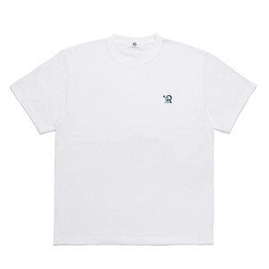 RUEED LOGO EMBROIDERY T-SHIRT / WHITE-TURQUIOSE