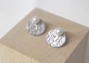 アコヤパールのまん丸プチピアス(Silver色)