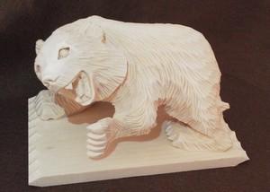 木彫り【吠え熊3号〈菩提樹〉-4】