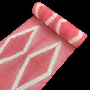 雪花絞り 藤井絞り 浴衣 濃ピンク (ゆかた レディース  有松絞り 未仕立て 反物 上品 大人浴衣 綿麻 結晶模様)