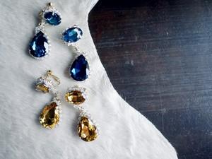 UNDERCOVER /  Drop Glass  Earrings ( YELLOW / BLUE )