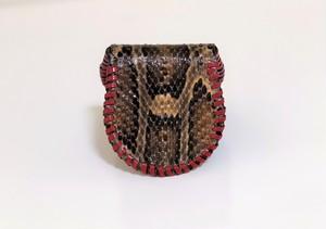 蛇革のコインケース 赤