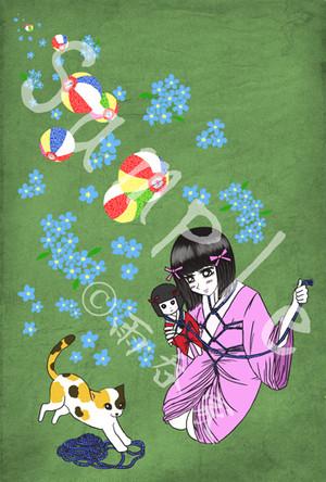 女郎花ポストカード(猫と童)