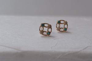 【受注生産】K10YG  Amulette pierce[Turquoise&Dia]