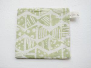 乾きやすく心地よいハンカチタオル(小/Green Ribbon)admi生地×リネン100%ワッフル生地
