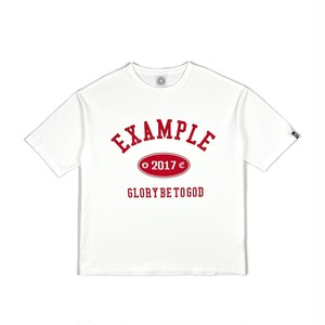 COLLEGE LOGO BIG TEE / WHITE x RED