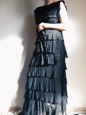 Tired Black Silk Dress