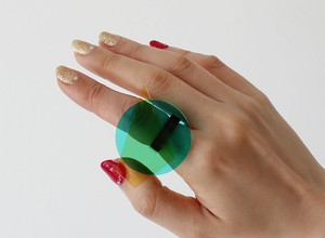 SUN  jewelry:リング(アンバー・グリーン・ブラック)アクセサリー・指輪・アクリル