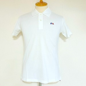 One Point Embroidery Seed Stitch Polo Shirt White