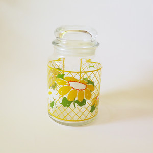Hildi Anchor hocking Jar・ヒルディ 花柄ジャー U.S.A