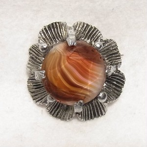 ブラウンガラスの石の花型ブローチ  ヴィンテージアクセサリーのセール通販 5803B
