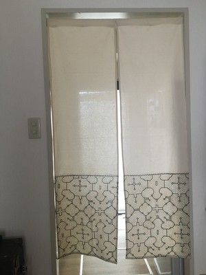 泥染め暖簾08ロング80x140cm アマゾンの泥染め シピボ族の工芸