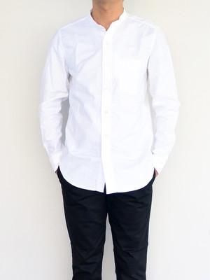 【残りM1枚】MANUAL ALPHABET(マニュアルアルファベット)PREMIUM OX BAND COLLAR SHIRT  プレミアムオックスバンドカラーシャツ ホワイト