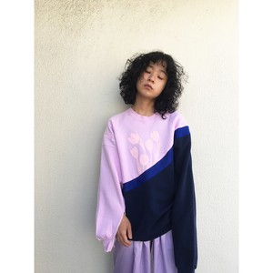 one off remake / slit sweatpullover / pink