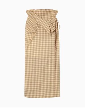 【Mame Kurogouchi】Summer Wool Plaid Front Slit Skirt  MM21SS-SK040