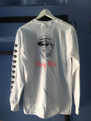 Thug Life Long Tee White