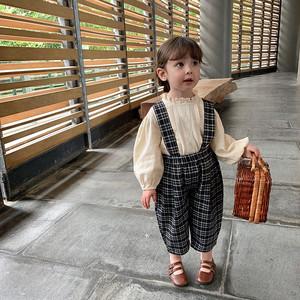 【先行予約】ユニセックス チェック柄 サスペンダー パンツ 2色 韓国子供服 春夏 2021SS
