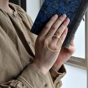indigo-silver WORKS - brass full moon pearl ring -