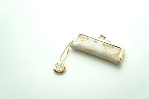 【グリーン&ゴールド シルク帯  印鑑ケース】結婚祝い、誕生日のギフトに。がま口、帯リメイク
