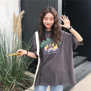 【トップス】売り筋シンプルルーズラウンドネックプルオーバープリントTシャツ