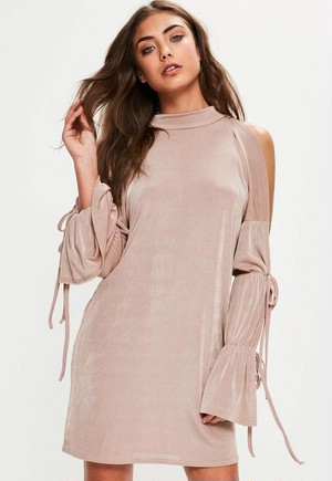 MISSGUIDED Nude Slinky Tie Sleeve Detail Oversized Dress 10SE002-17