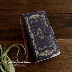 アンティーク古書のスマホケース・Navy(iPhone/android各種)カードポケット付き
