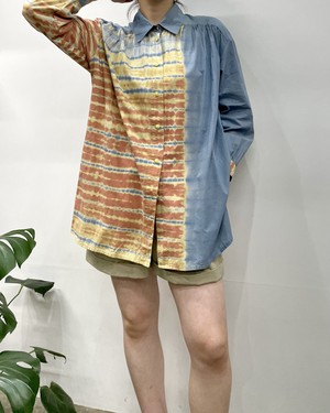 ladies fashion tie-dye cotton shirt 【ML位】
