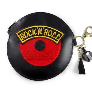 レコード型 パスケースタイプポーチ ブラック×レッド Rock'n Roll