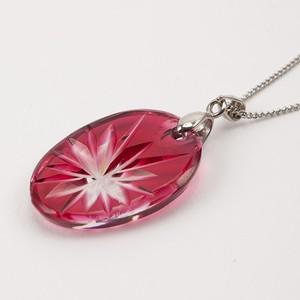 江戸切子  ペンダント 伝統工芸 無料包装 結婚祝 還暦祝 誕生日 クリスタルガラス金赤(ピンク色)ネックレス