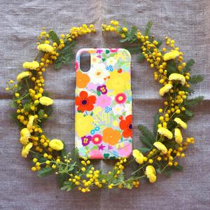【iPhone / Android】側表面印刷*ハード型*スマホケース「happy garden (beige gray)」● 受注生産