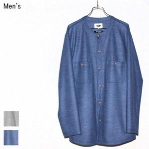 《20%OFF》MOSODELIA ウールノーカラーシャツ Collarless Shirts  17AW-S-002 (BLUE)