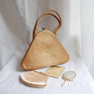 "1960's England ""Gold"" Hand bag with Mirror & Wallet"