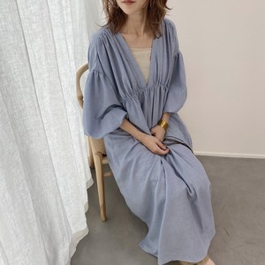 V neck slit gather OP/blue