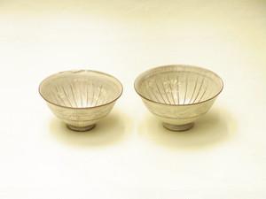 清水焼 陶楽 作 三島 組飯碗 セピア