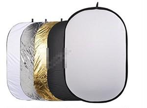 レフ板 楕円形 5色 ゴールド シルバー ブラック ホワイト 半透明 80cmx120cm 液晶クリーナークロス付き