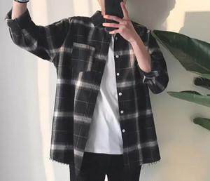 【HOT】ダメージデザインチェックシャツ 2カラー