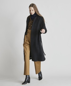 上質シャギーベルト付きノーカラーコート(ブラック)