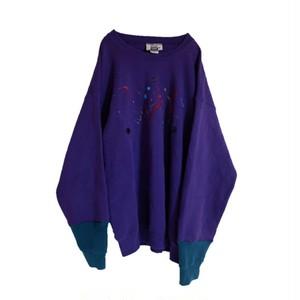 再構築 スウェットシャツ 紫 × 緑